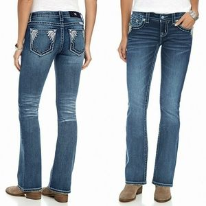 New! MISS ME Feather Pocket Boot Cut Jeans Blue